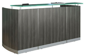 New Modern Curved Reception Front Desk Gray Steel Laminate Finish