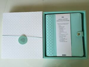 New Kikki K Large A5 Mint Perforated Leather Personal Planner In Box Aqua Coral