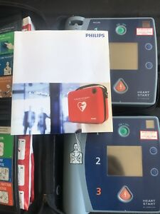 Philips Fr2 Heartstart New Pads Data Cards New Battery Defibrillator M3860a Aed