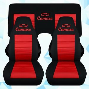 Fr rear 3pc Car Seat Covers In Blk red W design Fits 1993 2002 Chevy Camaro