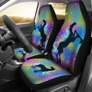 Unicorn Black Rainbow Car Set Cover Beautiful