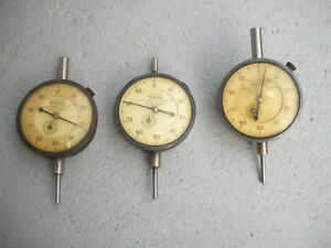 Three Vintage Machinist Federal Dial Indicators 001 Model D81s