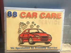 Car Care Service Outdoor Lighted Double Sided Box Sign 4 Ft Used Condition