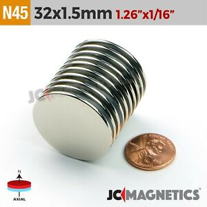 32mm X 1 5mm 1 26in X 1 16in N45 Super Strong Disc Rare Earth Neodymium Magnet