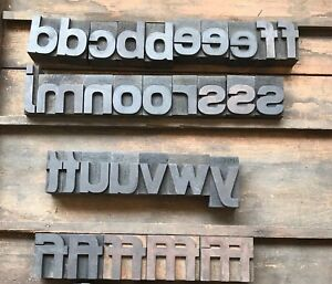 Vintage Type Wood Printer Block Letterpress Font 1 625 Lowercase 31 Piece