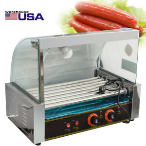 Usa Commercial 18 Hot Dog Hotdog 7 Roller Grill Cooker Machine W Cover Tray Set