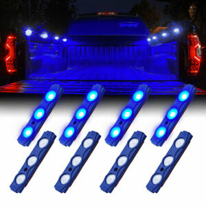 Xprite 16pc Led Light Pod Strip Kit Blue Waterproof Truck Cargo Bed Pickup