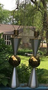 Monumental Pair Of Mid Century Sputnik Lamps Attributed To The Fairie Lamp Co