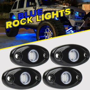 4pcs Blue 9w Cree Led Rock Light Pods Trail Under Offroad Truck Driving Rig Lamp
