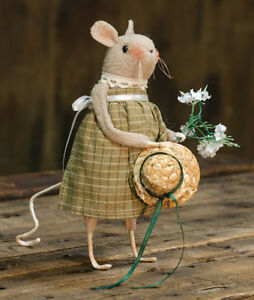 Primitive Garden Mouse Doll With Daisy Country Fabric Rag Folk Art Rustic Summer