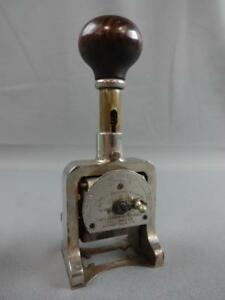 1893 Bates Automatic Numbering Machine 6 Wheel Style G Stamper Number 519364