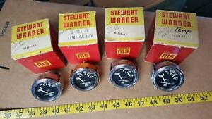 Lot Of 4 Vintage Nos Stewart Warner Oil Temp Gauges In Boxes