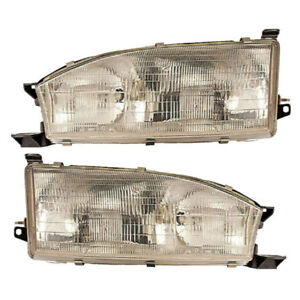 Pair New Left Right Headlight Assembly For Toyota Camry 1992 1993 1994