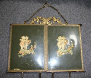 Antique Victorian Tri Fold Vanity Mirror Raised Celluloid Cherubs
