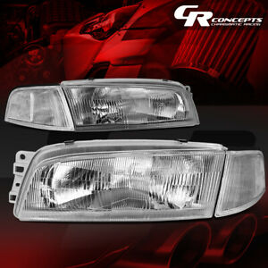 Left Right Chrome Housing Clear Side Headlight Lamps For 97 01 Mitsubishi Mirage