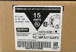 Lot Of 10 Murray Mpa115afc Mpa15afcp 15a Arc fault Breaker Combination New