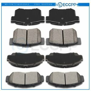 4 Front And 4 Rear Ceramic Brake Pads Kit For Acura Tsx 2004 2005 2006 2007 2008