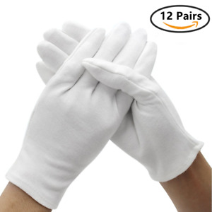 12 Pairs White Cotton Soft Gloves Jewelry Inspection Stretchy Work Gloves