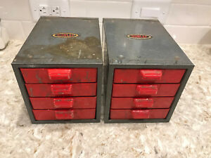 Pair Vintage Dunlap Parts Storage Bins 4 Drawers Each