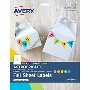 Avery Astrobrights Color Easy Peel Full Sheet Labels 8 1 2 X 11 Pack Of 10