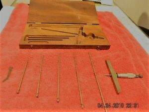 Machinist s Depth Micrometers W Fitted Wooden Case excellent Condition