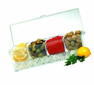 Jumbl Condiments Caddy Chilled Server Tray On Ice 4 Big Sections Organize