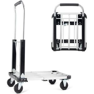 330 Lbs Capacity Folding Extendable Hand Platform Truck With 4 Wheels Tool Us