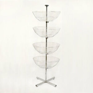 63 Floor Display Dump Bin 4 Chrome Wire Basket Tier Spinner Rack Free Standing