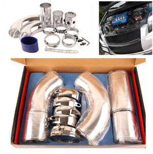 3 Aluminum Air Intake Combined Pipe Kit Turbo Cold Air Filter Induction System