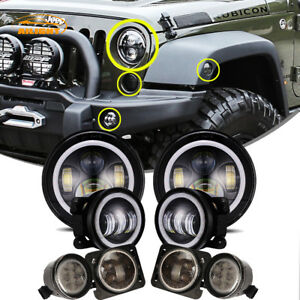 7 Led Headlight 4 Fog Light turn Signal fender Lamp Kit Jeep Wrangler 07 18 Jk