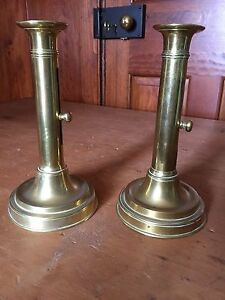 Antique Pair Of 18th 19th Century Brass Pushup Candlesticks