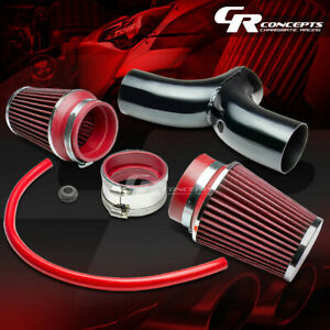 For 97 04 Chevy Corvette C5 Ls1 Ls6 Dual Intake Piping Pipe 3 5 Red Air Filter