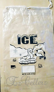 Clear 8 Lb Lbs Plastic Ice Bag Bags With Drawstring pack Of 400 Case New