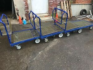 3 60x30 Flatbed Cart Warehouse Shopping Cart Carts Push Heavy Duty Platform