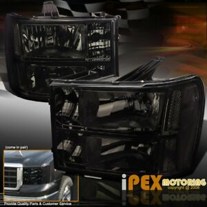 Blackout Look 2007 2013 Gmc Sierra 1500 2500hd 3500hd Smoke Headlight Headlamp