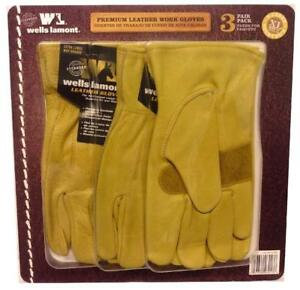 Wells Lamont Premium Leather Work Gloves 3 Pair Pack X large
