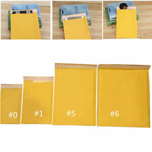 Us Wholesale 10 50 100pcs Kraft Bubble Mailers Padded Envelopes 0 1 5 6 Size