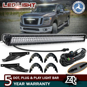 For 2004 2015 Nissan Titan 50 Curved Led Light Bar upper Roof Mount Brackets