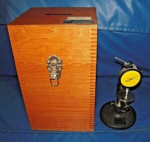 Starrett 25 131 Dial Indicator With Bench Test Stand Wooden Box Excellent