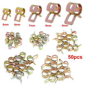 50pcs Fuel Line Hose Spring Clip Water Pipe Air Tube Clamp Fastener 5 6 7 8 9mm