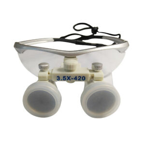 Pro Dental Loupes Binocular Surgical Loupes Magnifier Glass Lens 3 5x 420mm Us
