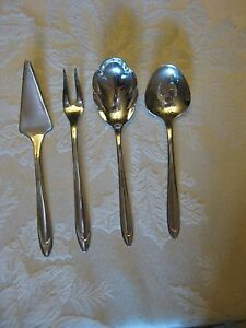 Meriden Silver Plate Hostess Hors D Oeuvres Serving Set First Lady Pattern 4 Pc