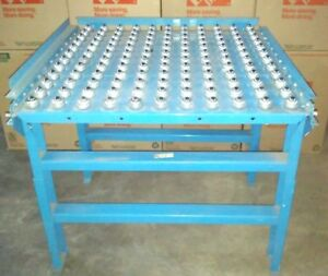 Hytrol 36 X 36 Ball Roller Conveyor Table With Stands And 2 Side Guards