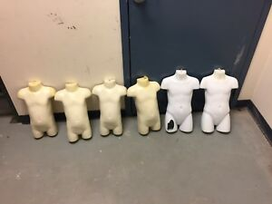 Cream White Plastic Half Body Torso Baby Youth Half Form Mannequin Lot Of 5