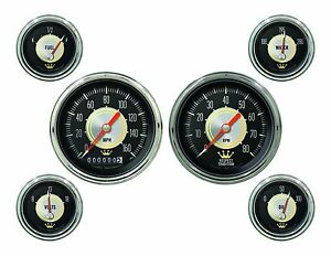 Classic Instruments Hollywood Hot Rod Series 6 Gauge Set Hh01slc Speedo Tach