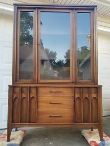 Mid Century Modern 1960s Brazilia Style China Cabinet Walnut Hutch Display