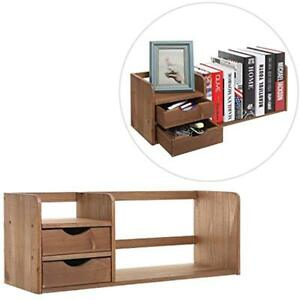 Natural Brown Desktop Offsurface Shelves Wood Organizer With Two Drawers Rack