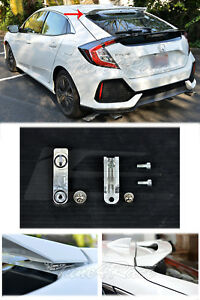 Silver Rear Wing Spoiler Roof Riser Extensions For 16 up Honda Civic Hatchback