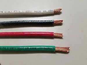 65 Ea Thhn Thwn 6 Awg Gauge Black White Red Green Stranded Copper Wire