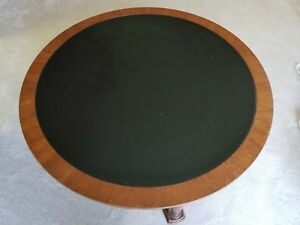 Baker Vintage Round Solid Wood Coffee Table With Black Leather Insert Over Wood